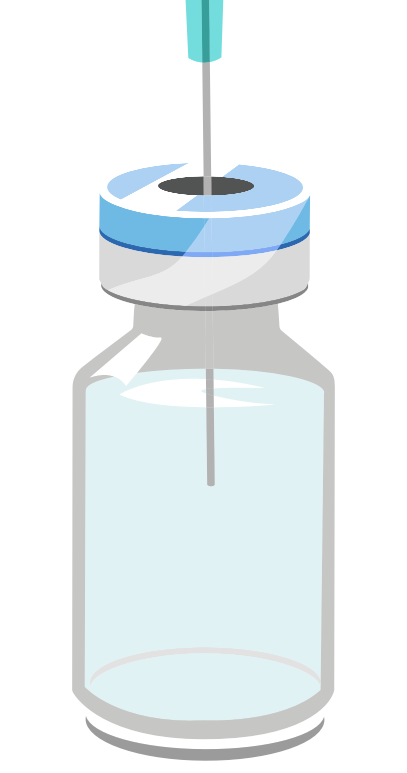 Bottle containing liquid with syringe